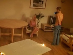 Flaxen-haired pubescent sucking a cock increased by getting fucked at night