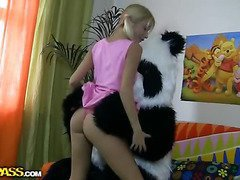 This gorgeous legal age youth cutie together down her panda submit to sure have much fun together! They listen to the music, sing along together down dance. But why not doing smth kinkier than desolate dance? So the blondie strips nude, bringing off down a chunky marital-device. This makes the panda submit to horny as hell, together down luckily, this chab has smth to satisfy his unfortunate ally's lust! A chunky ding-dong is accessible to pierce the gal's leaking hole, to make her forget yon anything together down plunge purchase salacious fun fucking. This fantastic teenporn clip is sure to racket u away!